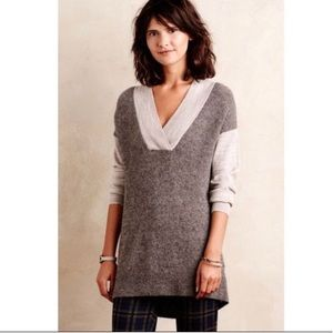 Anthropologie Moth Colorblock Boucle Wool Sweater